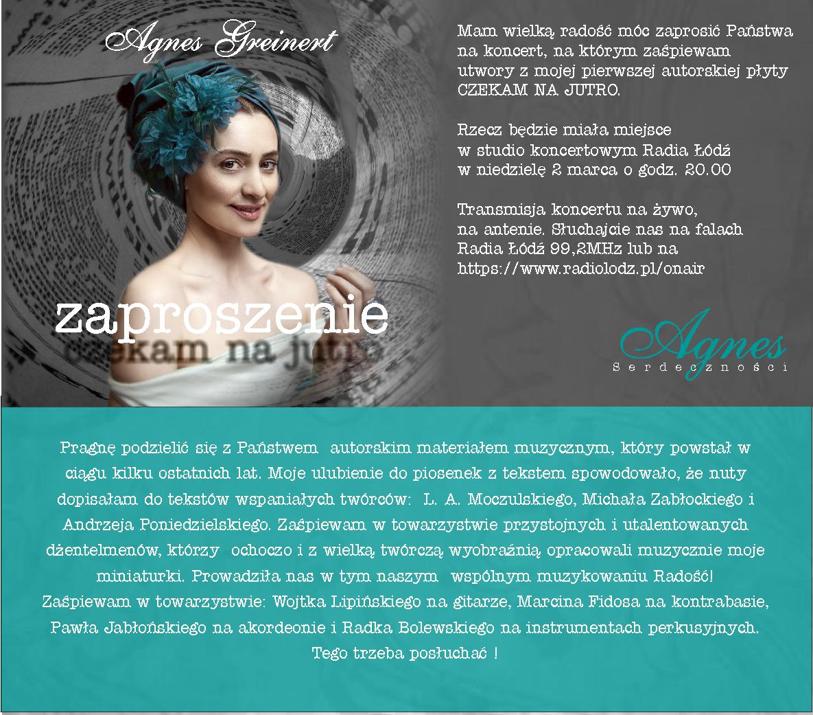 Agnieszka Greinert - Czekam na jutro - Zaproszenie na koncert